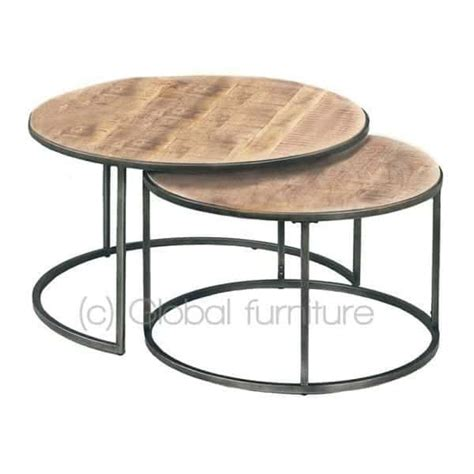 salontafel rond hout design nora bijzettafel salontafel set rond hout metaal industrieel