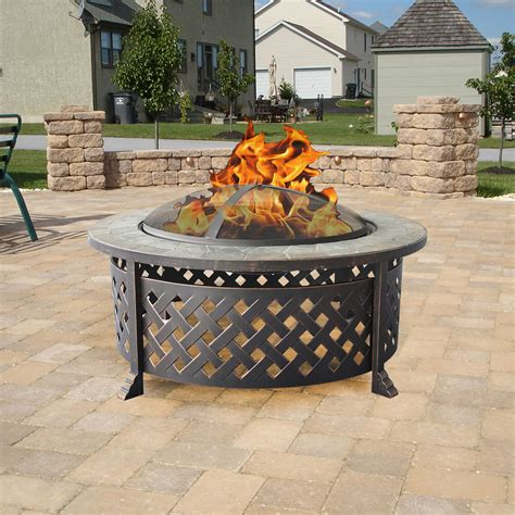clevr outdoor 34 quot metal firepit table backyard patio
