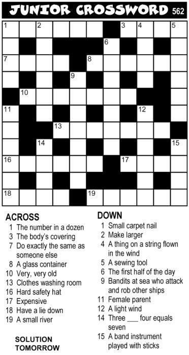 easy crossword puzzles nz crossword puzzles for jnr cw0562 portrait magnificent