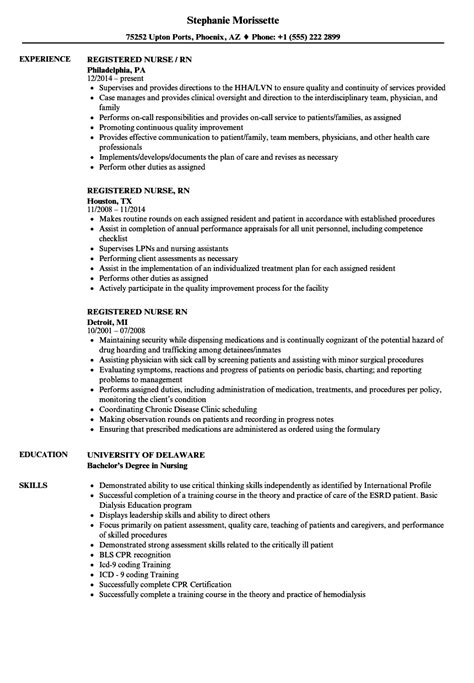 registered nurse sample resume resume samples