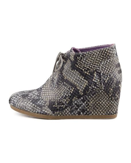 toms snake print wedge desert boot