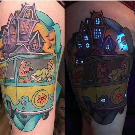 90s baby tattoo 90s kid scooby doo glow in the half sleeve