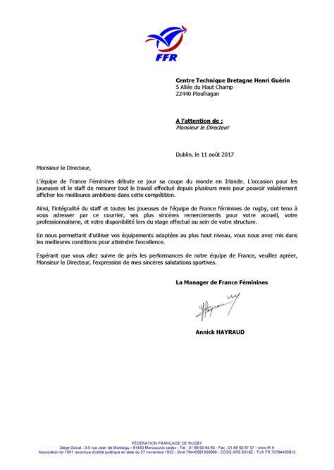 Lettre De Remerciement Entreprise Tous Nos Remerciements Et Nos Encouragements Au Xv De F 233 Minin Centre Technique Bretagne