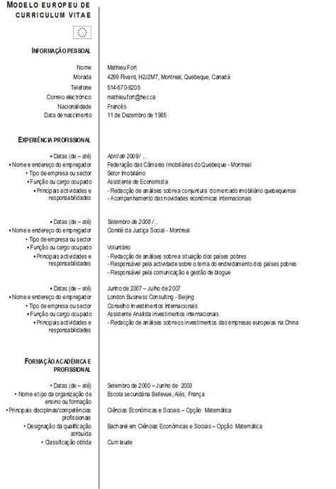 Modelo Curriculum Vitae Europeu Em Portugues Curriculum Vitae Modelo Europeu De Mathieu Fort