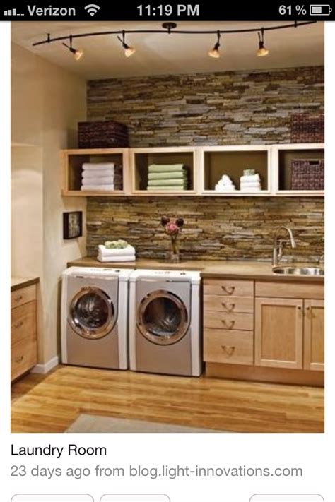 laundry room love the stone wall house ideas pinterest
