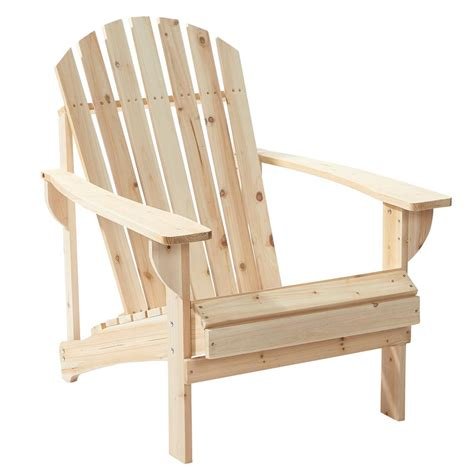 Hampton Bay Unfinished Stationary Wood Outdoor Adirondack