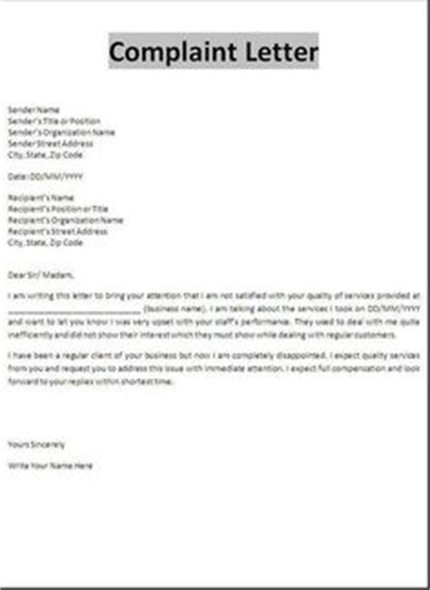 Sle Of Complaint Letter Against Colleague 1000 Images About Complaint Letters On Letters Letter Sle And Letter Addressing