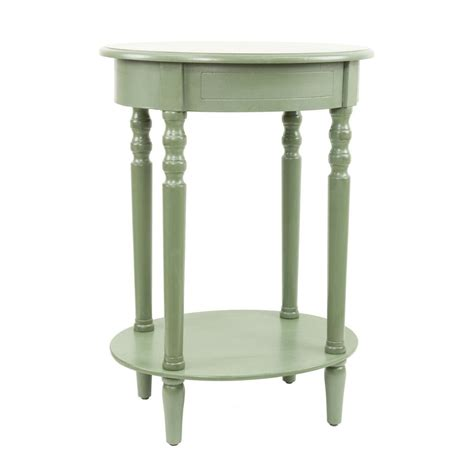 Green Accent Table Shop Decor Therapy Simplify Antique Green Oak Oval End Table At Lowes