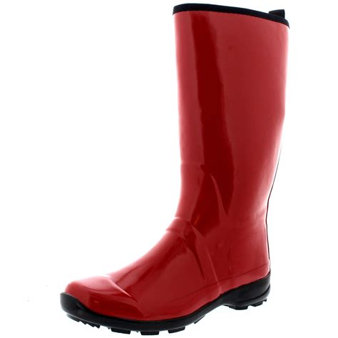 womens contrast sole rubber gloss knee high snow