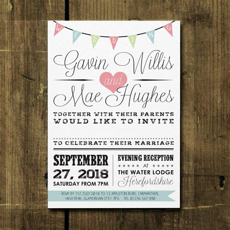 vintage bunting wedding invitation  feel good wedding