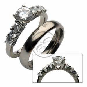 titanium wedding ring sets titanium solitaire engagement wedding ring set titanium rings at elma uk jewellery