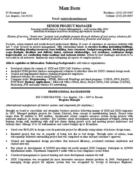 pmp resume exles project manager resume exle project manager resume