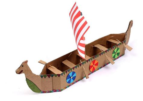 Viking Papercraft - simple viking longboat papercraft for free template