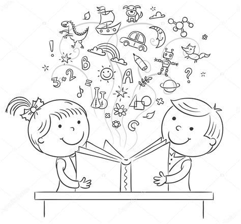 imagenes a blanco y negro de libros ni 241 os leyendo un libro juntos vector de stock 84387176