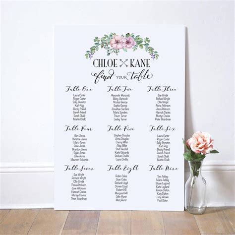seating plan personalised printable wedding seating plan wedding table