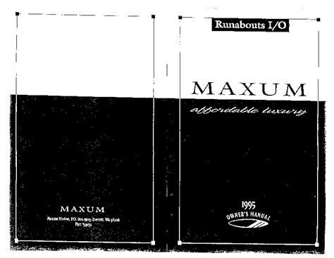 maxum boats manuals maxum stern drive runabout boat owners manual 1995