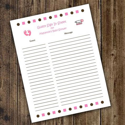 Printable Baby Shower Guest Sign In Sheet by Items Similar To Baby Shower Guest Sign In And Baby Advice