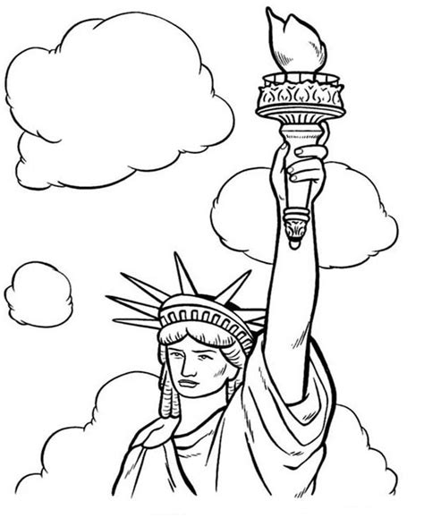 statue of liberty coloring page easy statue of liberty and white clouds coloring page statue