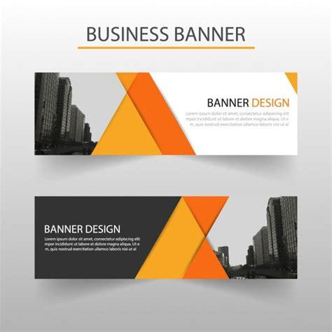 design banner office geometric banner orange vector free download