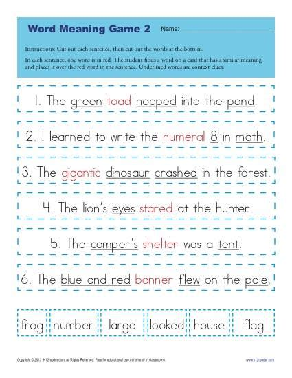context clues worksheets for 1st grade word meaning game