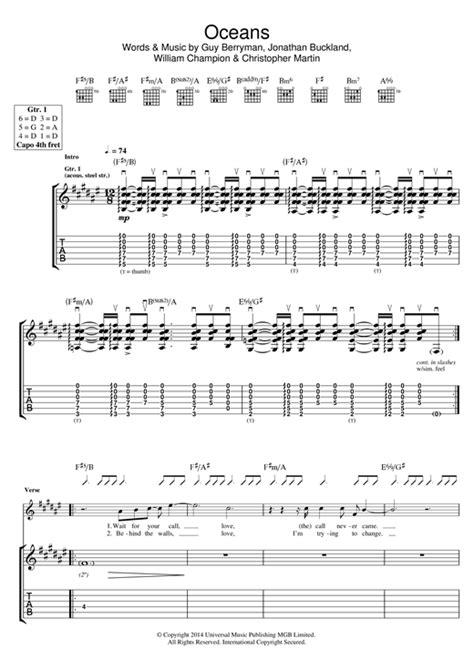 coldplay oceans chords oceans guitar tab by coldplay guitar tab 118877