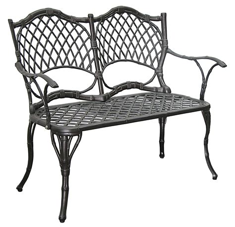 Black Cast Aluminum Patio Furniture by Patio Furniture Bench Cast Aluminum Iron Loveseat Black Bamboo