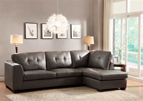 Grey Leather Sectional Sofa Sofa Sectional In Grey Eco Leather He968 Leather Sectionals