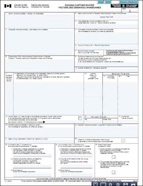 customs invoice template blank canada customs invoice hardhost info