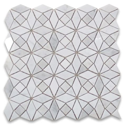 pattern marble mosaic carrara white kaleidoscope pattern diamond mix mosaic tile