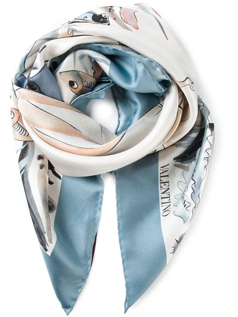 Sailboat Scarf lyst valentino sailboat and mermaid foulard scarf