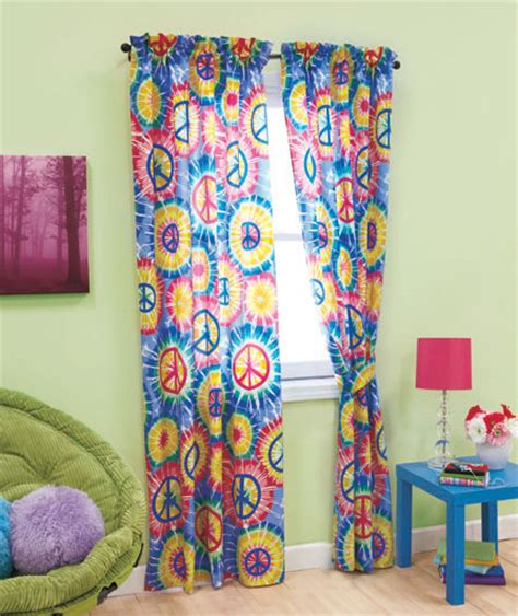 peace sign window curtains peace sign tie dye 4pc window panel curtains hippie 60s
