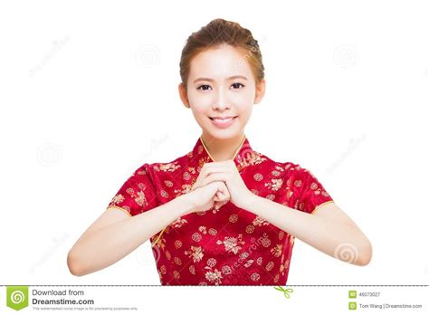 new year greeting gesture happy new year beautiful asian stock image