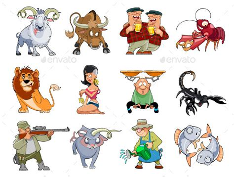 comical cartoon zodiac by bronya graphicriver