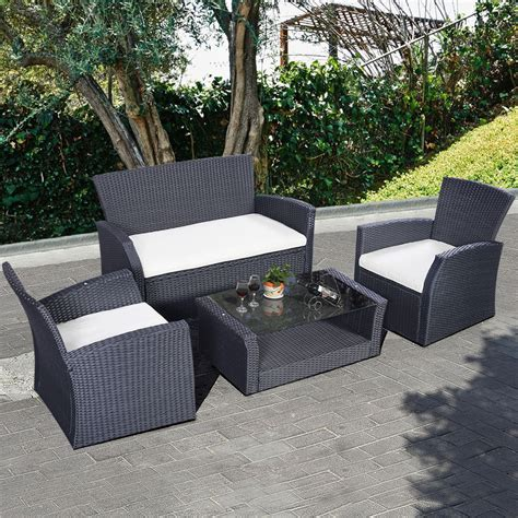 outdoor patio wicker furniture 4pc wicker cushioned outdoor patio furniture set garden lawn sofa rattan black ebay