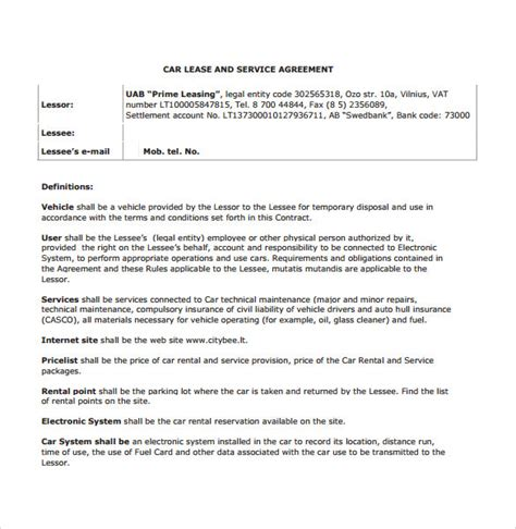 vehicle rental agreement template sle vehicle lease agreement template 7 free