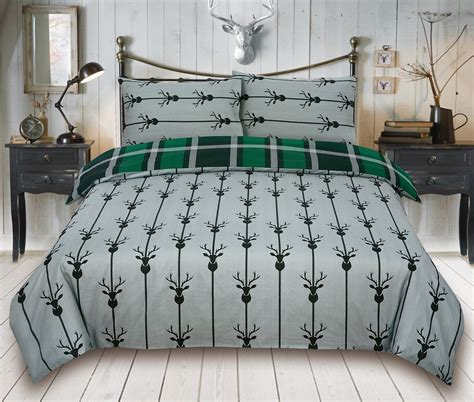 Bed Cover Ukuran 220 X 230 Microtex Polos Bed Cover Only check stag green bedding king duvet cover set 5060543350159