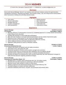 General Manager Resume Exle by General Manager Resume Exle Management Sle Resumes Livecareer