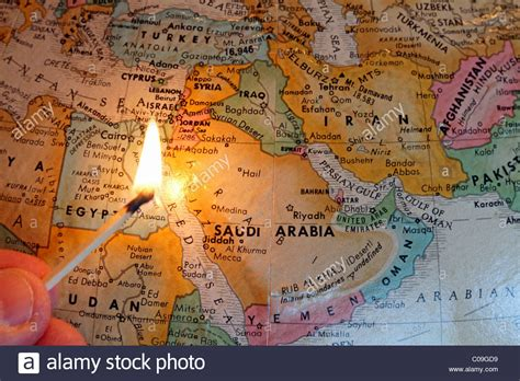 middle east unrest map middle east map with a lit match symbolizing the region s