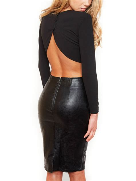 black crop sleeves top with leather pencil skirt choies