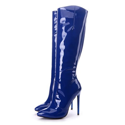 blue high heel boots giaro elegance navy shiny high heel boots