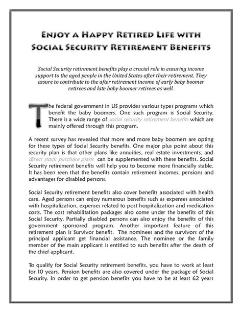 enjoy a happy retired with social security retirement