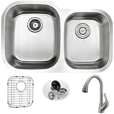 brushed stainless steel undermount kitchen sink anzzi undermount stainless steel 32 in basin kitchen sink and faucet set with
