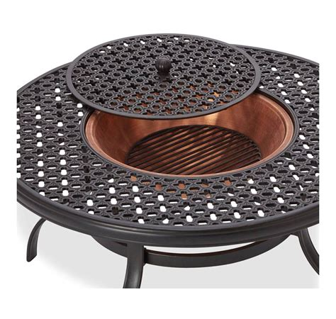 Outdoor Coffee Table Fire Pit - amazon com strathwood whidbey cast aluminum fire pit with table patio lawn amp garden