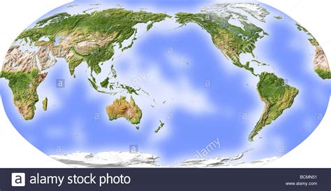 printable world map pacific centered world map shaded relief centered on the pacific stock