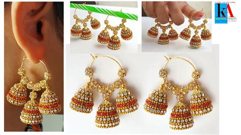 How To Make Paper Jhumkas At Home - of paper quilling bridal jhumkas 3 in 1 fancy