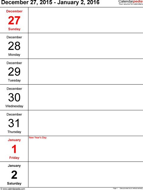 Weekly Calendar 2016 For Pdf 5 Free Printable Templates Free Templates 2016