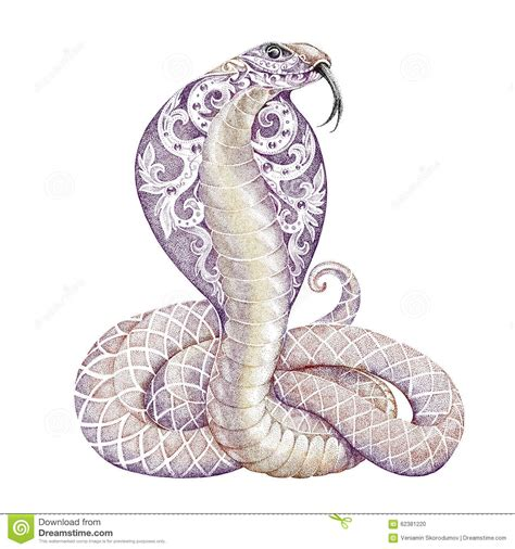 tattoo snake cobra with open cowled stock illustration