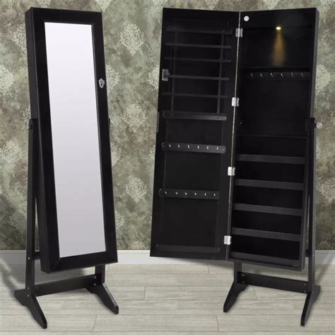 jewelry cabinet mirror with led lights black free standing jewelry cabinet with led light and