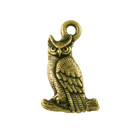 owl charm 22x14mm pewter antique brass plated wholesale