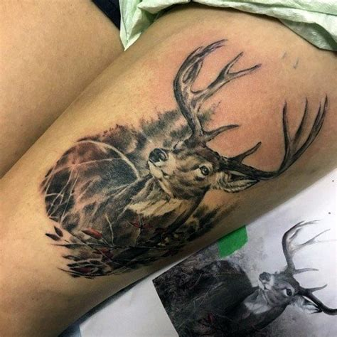 upper thigh tattoos for men guys deer designs on thigh deer tats
